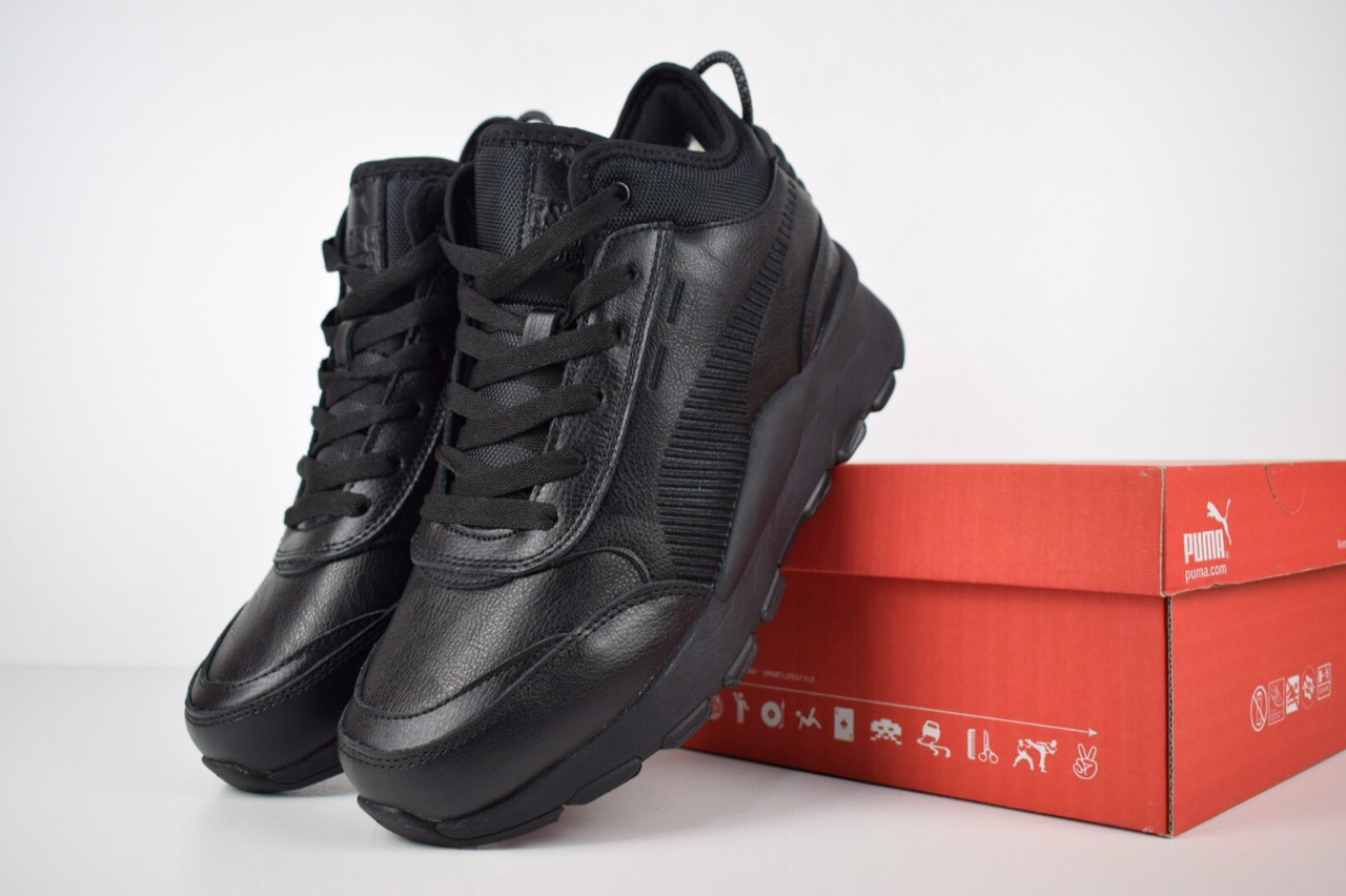 cc1a60ed2f0c Мужские кожаные зимние кроссовки Puma Rs-0 Re-Invention с мехом топ реплика