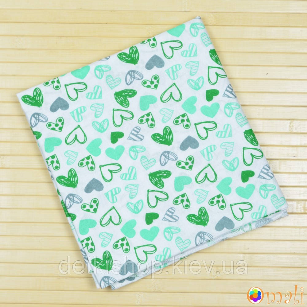 Пеленка ситцевая 95x100 тм «Omali» (сердечки зелёные)