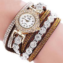 Часы браслет Duoya  в кристаллах коричневые