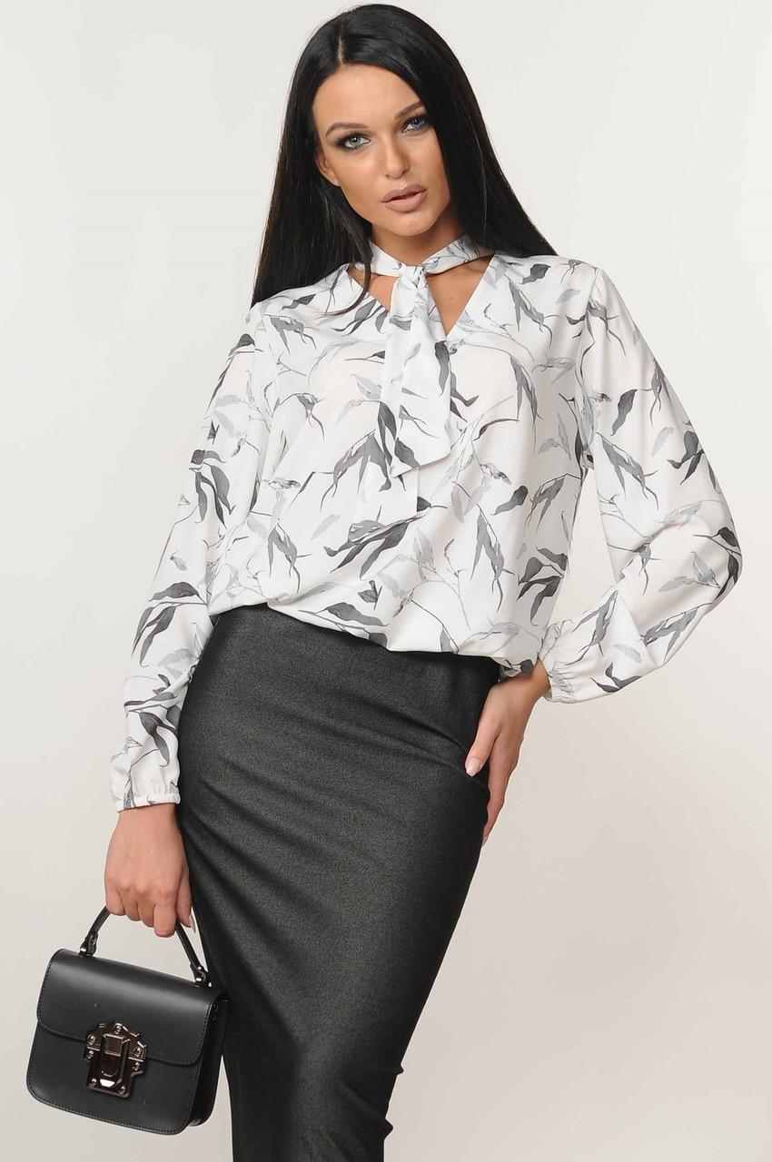 Блуза Кенді колір білий листочки Ри Марі