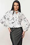 Блуза Кенді колір білий листочки Ри Марі, фото 2