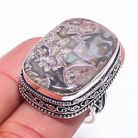 Кружевной агат кольцо с натуральным агатом в серебре 17.5-18 размер Индия, фото 1
