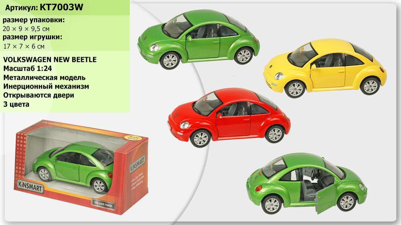 "Машина метал ""KINSMART"" KT7003W"" Volkswagen Newl Beetle Машина 16,5 см,відкривши. двері,гум.колеса в кор20*9*9,"