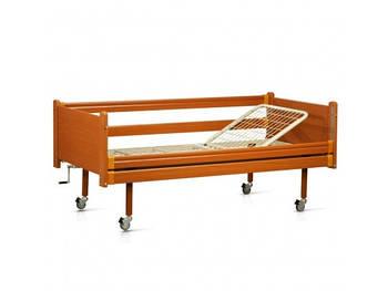 Кровать медицинская механическая на колесах 2-х секционная МАТРАС В ПОДАРОК
