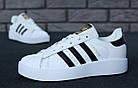 Женские кроссовки adidas Superstar Bold White (в стиле Адидас Суперстар) белые, фото 4