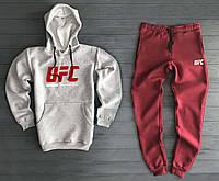 Теплый мужской спортивный костюм UFC серо-бордового цвета , фото 1