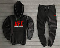 Теплый мужской спортивный костюм UFC черного цвета , фото 1