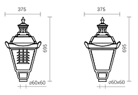 Светильник Опора наружного освещения парковая S-31/W (A) ROSA   высота 3,32m система 1  и светильник OS-1 E27, фото 3