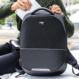 Новейший городской рюкзак Arctic Hunter с защитой от краж и портом USB black (B00216)