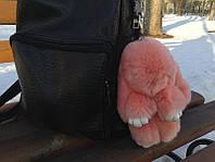 Меховой брелок - помпон на сумку в виде зайчика, персиковый (Натуральный мех)