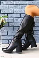 Женские сапоги на широком каблуке, фото 1