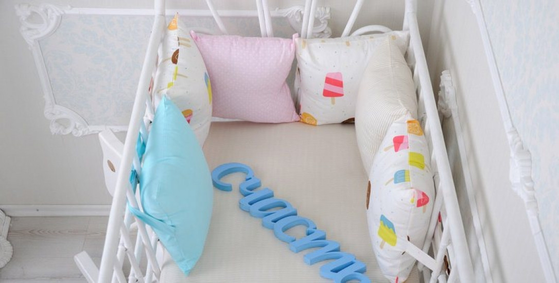 Комплект бортиков в кроватку и простынь Пазлы Синее небо 6 шт. 119059