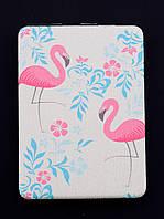 Зеркальце Flamingo розово-голубое карманное 85х60мм. 058115