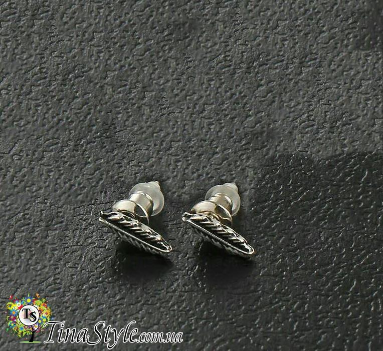 Серьги сережки перья перо гвоздик металик Панк серебренный цвет крыло крылья Шарм новинка