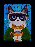 Зеркало карманное Кот в очках с бокалом косметическое 85х60мм. 057570