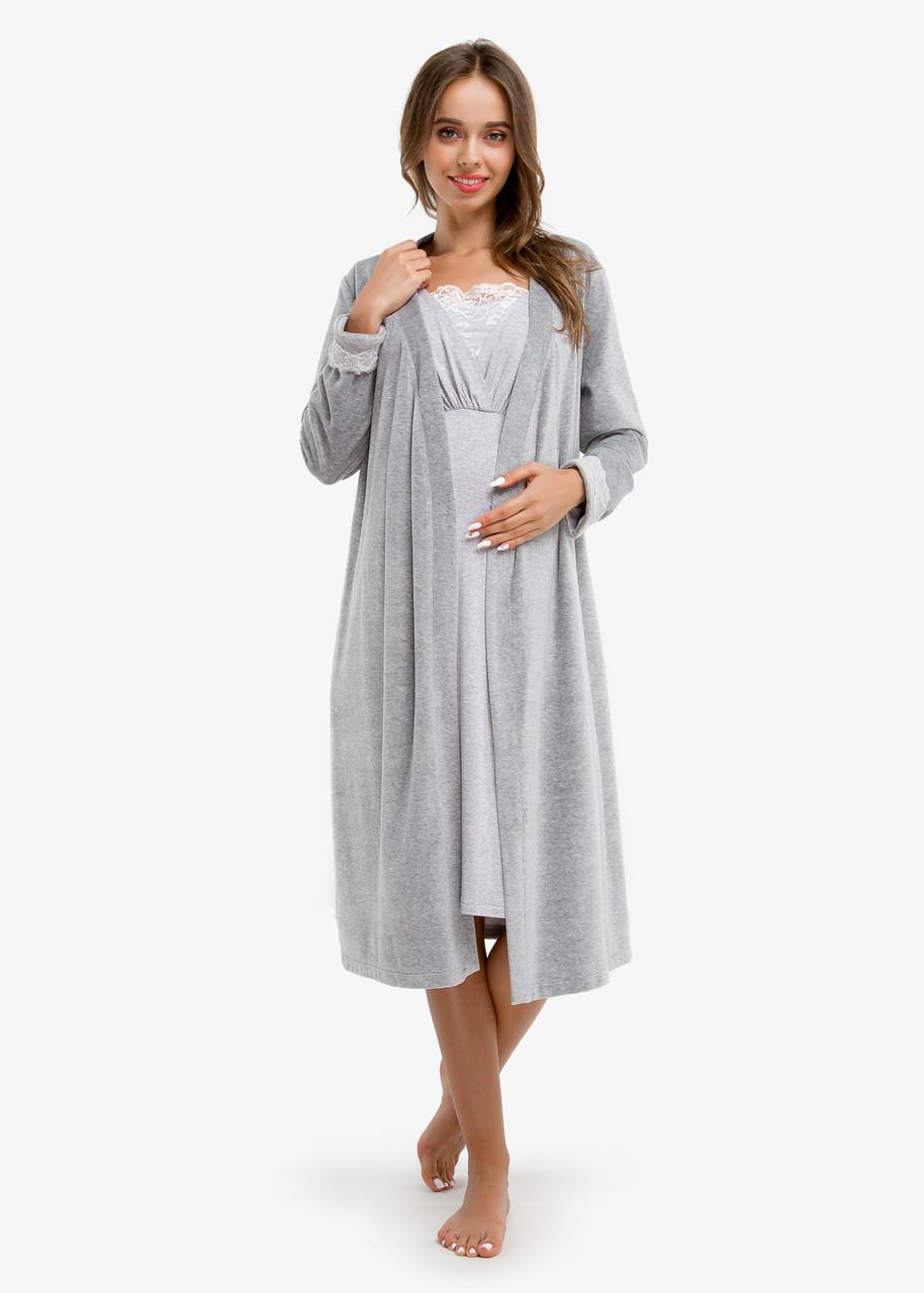 4957520c6525 Комплект домашний в роддом халат велюр+сорочка MELANGE CHIK для беременных  и кормящих