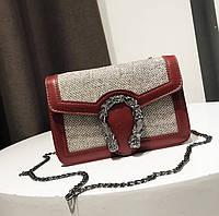 Маленька жіноча сумочка на ланцюжку з екошкіри червона опт
