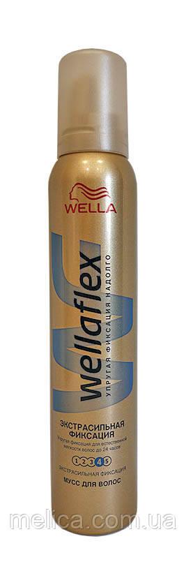 Мусс для волос Wellaflex 4 Экстрасильная фиксация - 200 мл.