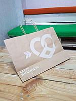 Бумажный пакет крафт бурый 40x32x13 см с Вашим логотипом. Мин. тираж -100шт