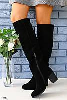Женские сапоги на широком устойчивом каблуке, фото 1