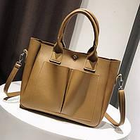 Женская сумка большая коричневая из экокожи опт
