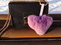 Меховой брелок - помпон на сумку Сердце Luxury, Сиреневый (Натуральный мех)