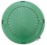 Люк смотровых колодцев полимерный круглый 3т с замком (зеленый)