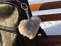 Меховой брелок - помпон на сумку Сердце Luxury, серый (Натуральный мех)