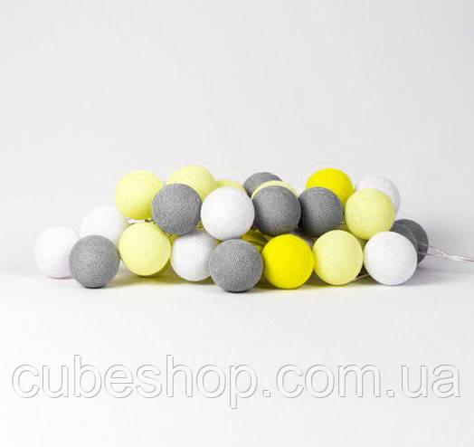 "Тайская LED-гирлянда ""Yellow-Stone"" (10 шариков) на батарейках"
