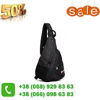 Доступный городской однолямочный рюкзак Wenger SwissGear Small Swiss - Черный!