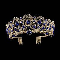 Свадебная диадема, корона, тиара на голову для невесты позолота 47129с-в, фото 1