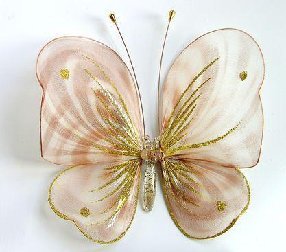 Декоративная бабочка большая для штор и тюлей бежевая полосатая