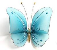 Декоративная бабочка для штор и тюлей большая голубая