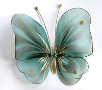 Декоративная Бабочка для штор и тюлей большая голубая полосатая