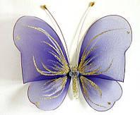 Декоративная бабочка большая для штор и тюлей фиолетовая аксессуары