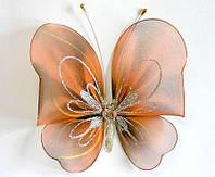 Декоративная бабочка большая для штор и тюлей черно-рыжая