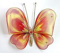 Средняя бабочка Полосатая рыжая аксессуар для штор