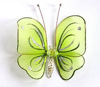 Декоративная бабочка маленькая для штор и тюлей аксессуар Салатовая