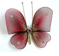 Средняя бабочка Полосатая красная для штор и тюлей