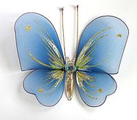 Средняя декоративная бабочка Синяя для штор и тюлей