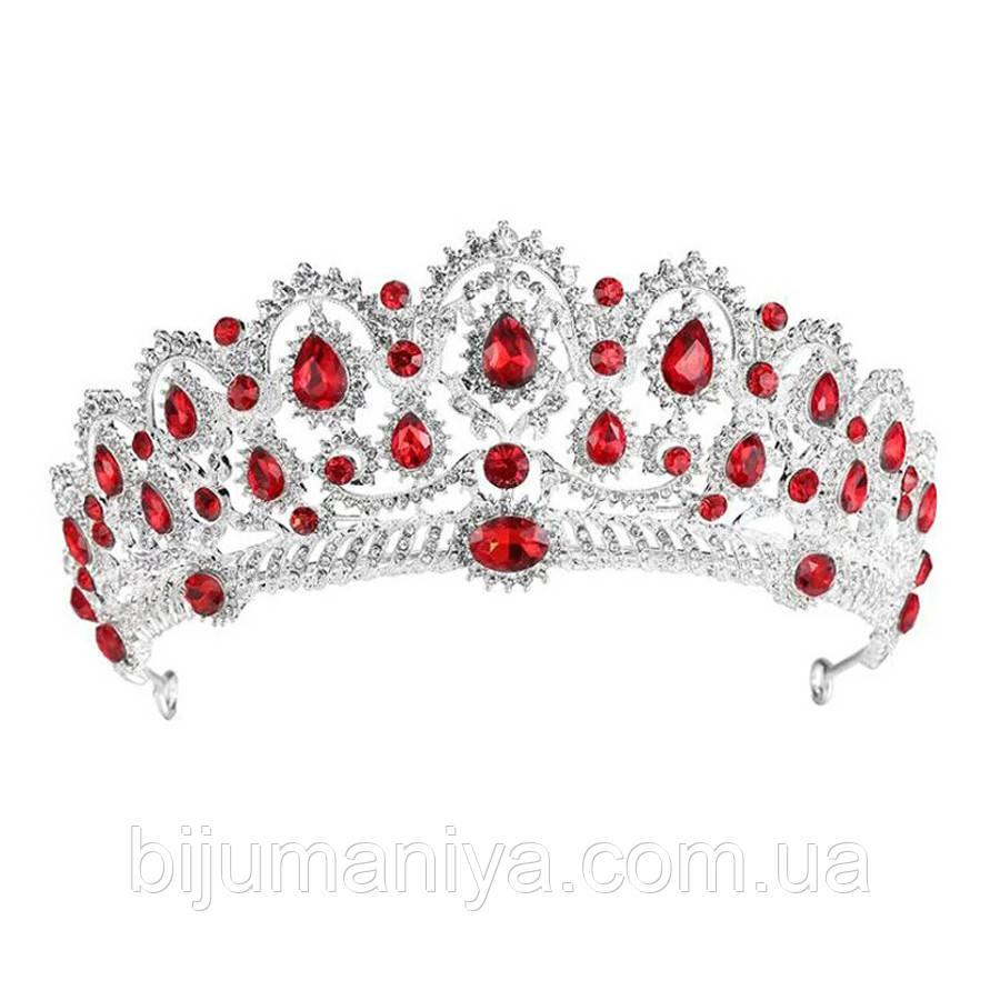 Свадебная диадема, корона, тиара на голову для невесты посеребрение 47122с-а