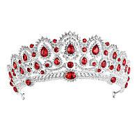 Свадебная диадема, корона, тиара на голову для невесты посеребрение 47122с-а, фото 1