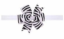 Біла дитяча пов'язка з принтом зебри - розмір універсальний (на резинці), бантик 8см