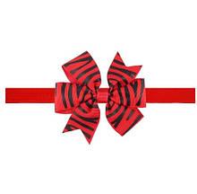 Червона дитяча пов'язка з принтом зебри - розмір універсальний (на резинці), бантик 8см