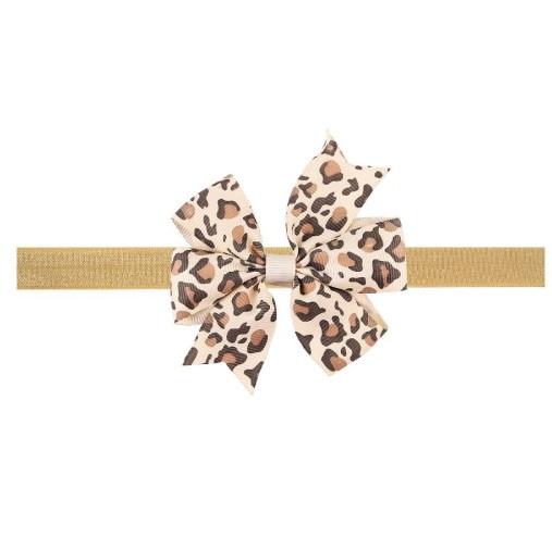 Леопардовая детская повязка - размер универсальный (на резинке), бантик 8см