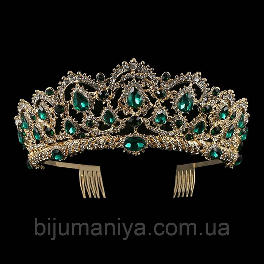 Свадебная диадема, корона, тиара на голову для невесты позолота 47129с-б