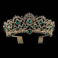 Свадебная диадема, корона, тиара на голову для невесты позолота 47129с-б, фото 1