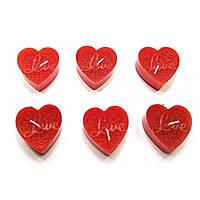 Декоративные свечи Сердечки Love набор 6 шт