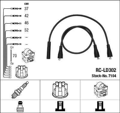 Провода зажигания  ВАЗ 2101-099 (1200-1600), Таврия 1,1;1,3 , NGK, RC-LD302