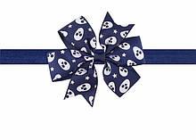 Синя дитяча пов'язка - розмір універсальний (на резинці), бантик 8см